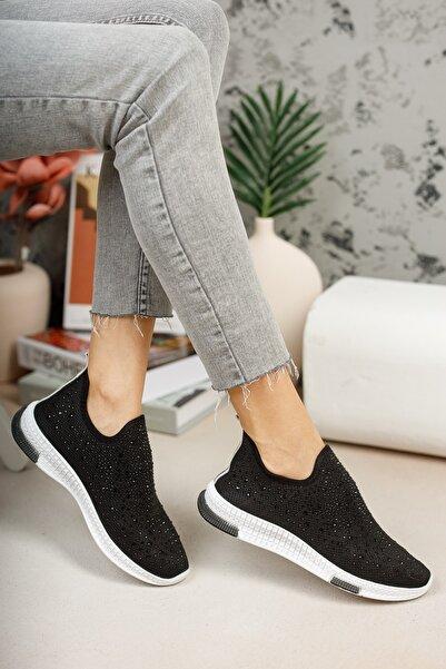 meyra'nın ayakkabıları Kadın Siyah Taşlı Çorap Sneaker