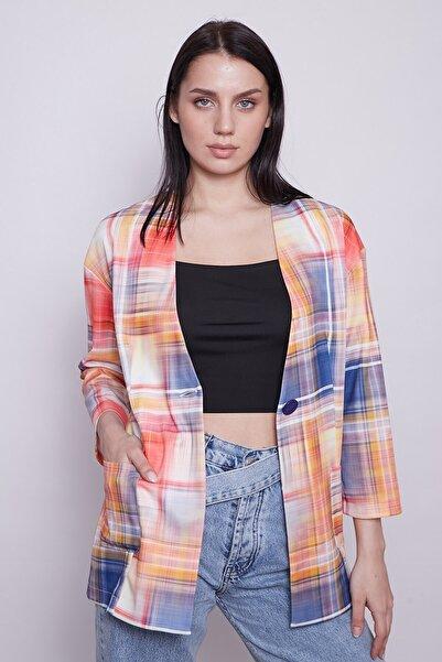 Jument Kadın Turuncu Tek Düğmeli Cepli Desenli Uzun Astarsız Blazer Ceket