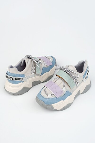 Marjin Kadın  Mavi Dolgu Topuklu Sneaker Spor Ayakkabı