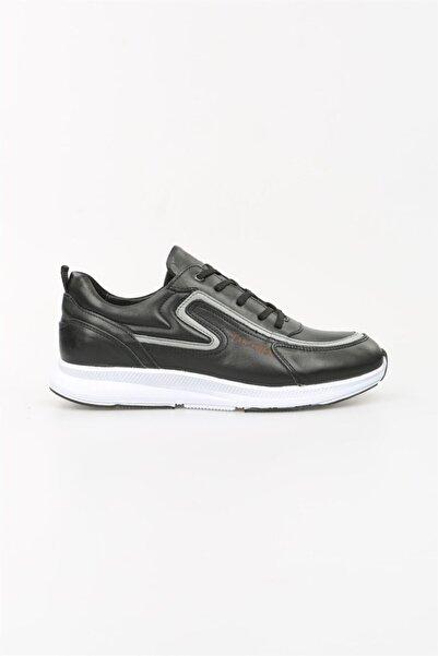 Jakamen Erkek Siyah Hakiki Deri Bağcıklı Sneaker