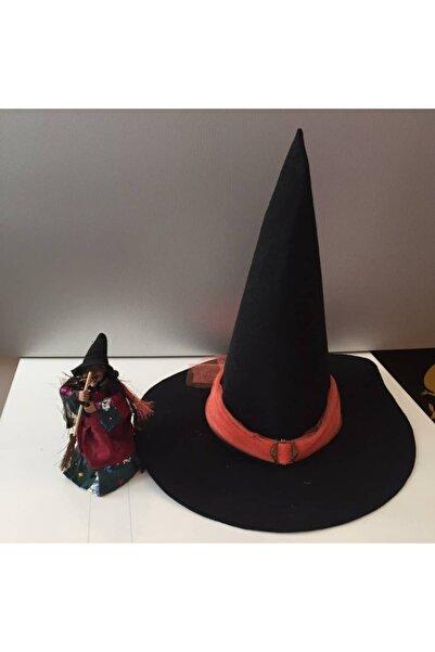 3 Buçuk K Kostüm Halloween Cadılar Bayramı Yetişkin Siyah Cadı Şapkası