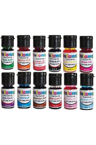 velomy 12 Adet 12 Renk Sıvı Gıda Boyası 10 Gr Su Bazlı Likit Gıda