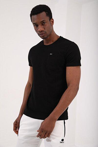 Tommy Life Siyah Erkek Cepli Çizgi Detaylı Standart Kalıp O Yaka T-shirt - 87807