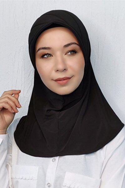 Moda Mevsimi Kadın Siyah Takmatik Hazır Eşarp