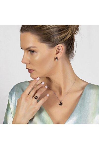 Tesbihane Zultanit Taşlı Kır Çiçeği Tasarım 925 Ayar Gümüş 2lü Takı Seti