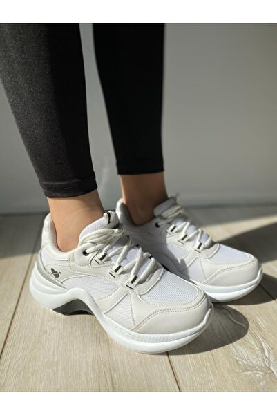 Twingo Kadın Beyaz Kalın Taban Sneaker Ayakkabı.
