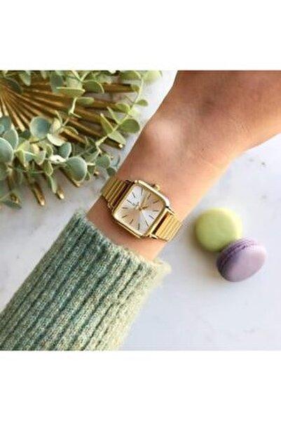 Minimal Kare Altın Kasa Gümüş Kadran Kadın Kol Saati