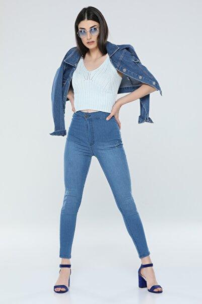 ÇİÇEK BUTİK Büyük Beden Bayan Kot Pantolon Mavi Yüksek Bel Dar Paça Skınny Kalıp Toparlayıcı Özellik