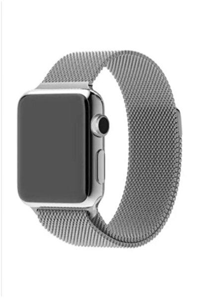 Linva Apple Watch 2 3 4 5 Için 38 40mm Metal Hasır Tme Kordon Gümüş