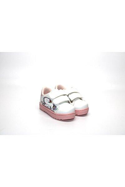Minican Kız Çocuk Unicorn Karakterli Cırtlı Pembe-beyaz Spor Ayakkabı