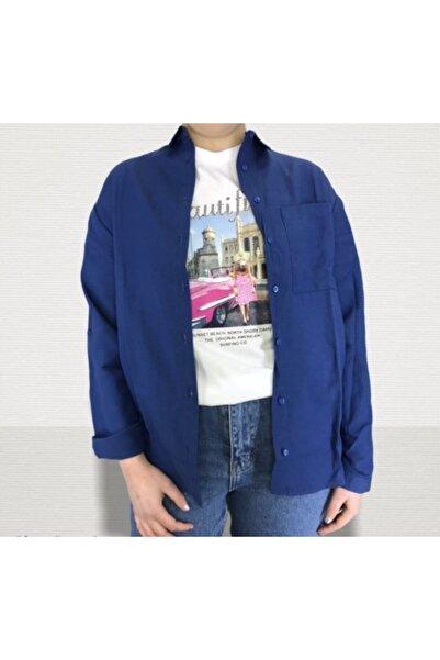 Mixray Kadın Kol Katlamalı Cepli Pamuk Gömlek