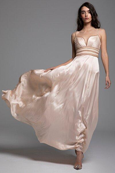 Tuba Ergin Kadın Pudra İpek Bel İşleme Detaylı Maxi Ava Elbise