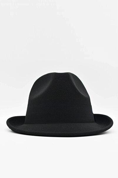 Külah Erkek Siyah Fötr Şapka Kovboy Panama Kasket