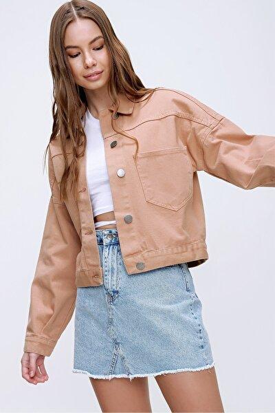 Trend Alaçatı Stili Kadın Açık Bej Crop Denim Ceket ALC-X3631-RV