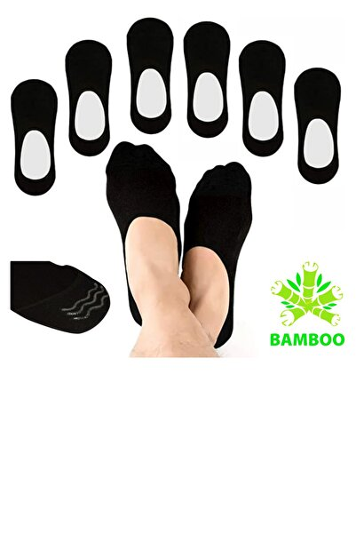 socksbox Babet Siyah Bambu Dikişsiz Silikonlu Görünmez Çorap