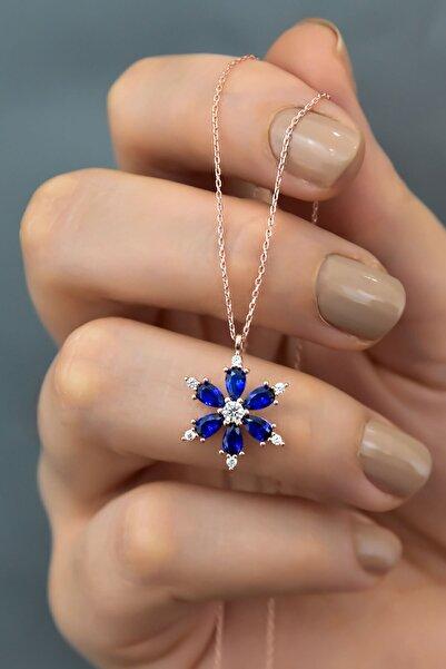 Papatya Silver 925 Ayar Gümüş Lacivert Taşlı Kamelya Çiçeği Kadın Kolye