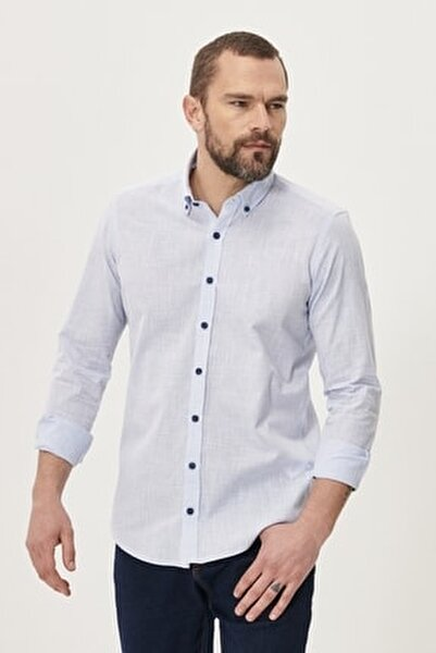 Erkek Mavi Tailored Slim Fit Dar Kesim Düğmeli Yaka %100 Koton Gömlek