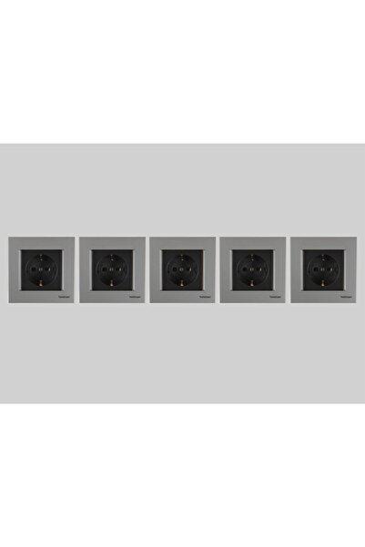 Netelsan Topraklı Priz Gümüş Siyah 5 Adet