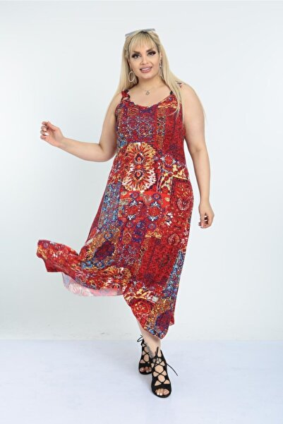 HERAXL Kadın Kırmızı Etnik Desen Toka Detaylı Askılı Elbise