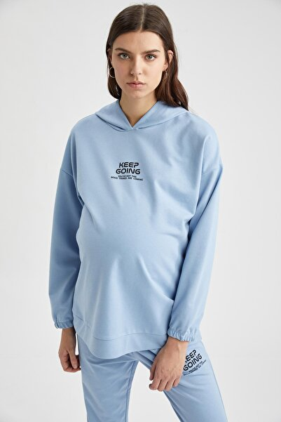 DeFacto Kadın Mavi Hamile Baskılı Kapüşonlu Sweatshirt