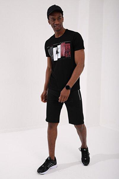 Tommy Life Siyah Erkek Dikdörtgen Desen Baskılı Standart Kalıp O Yaka T-shirt - 87948