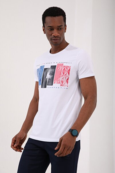 Tommy Life Beyaz Erkek Dikdörtgen Desen Baskılı Standart Kalıp O Yaka T-shirt - 87948