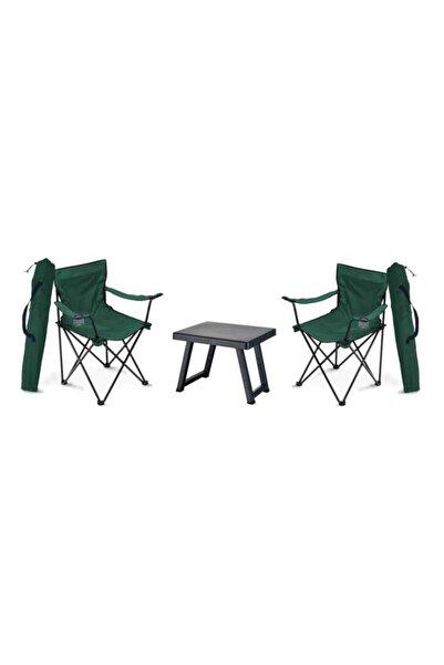 Trend Maison Rejisör Katlanabilir Piknik Kamp Balıkçı Plaj Sandalyesi ve Portatif Sehpa Takımı 2 Adet
