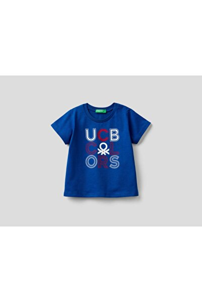 United Colors of Benetton Erkek Çocuk Lacivert Yazılı Tshirt 012