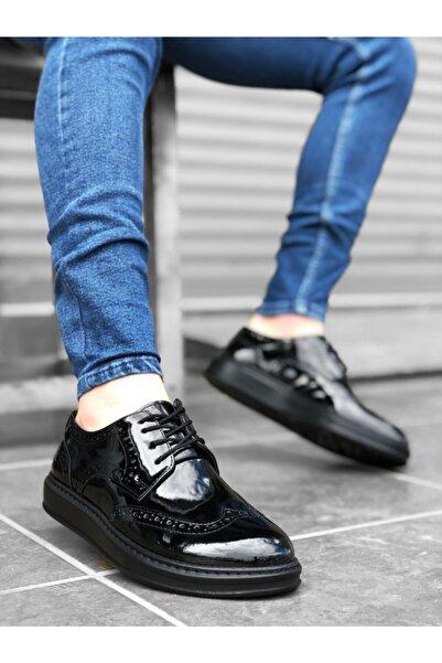 BOA Ba0003 Bağcıklı Klasik Siyah Taban Rugan Yüksek Taban Casual Erkek Ayakkabı
