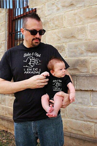 venüsdijital Baba Oğul En Iyi Arkadaş Siyah Tshirt Zıbın (KOMBİN YAPMAK İÇİN 2 ADET SEPETE EKLEYİNİZ)