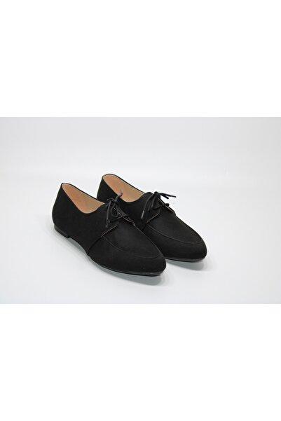 Sedef Kadın Kaymaz Düz Taban Bağcıklı Klasik - Spor Siyah Günlük Babet Ayakkabı