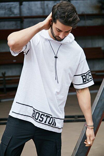 Sateen Men Erkek Beyaz Kapüşonlu  B Yaka T-Shirt