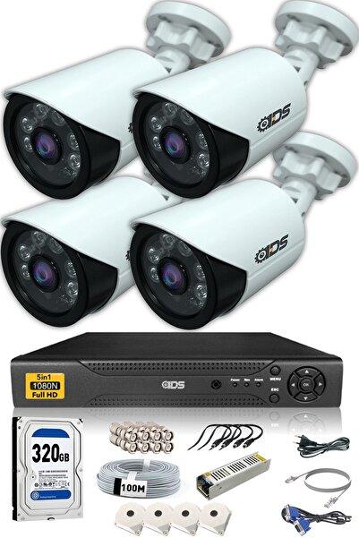 IDS 4 Kameralı 5mp Lensli 1080p Fullhd Kamera Seti - Gece Görüşlü - Su Geçirmez - Cepten Izle