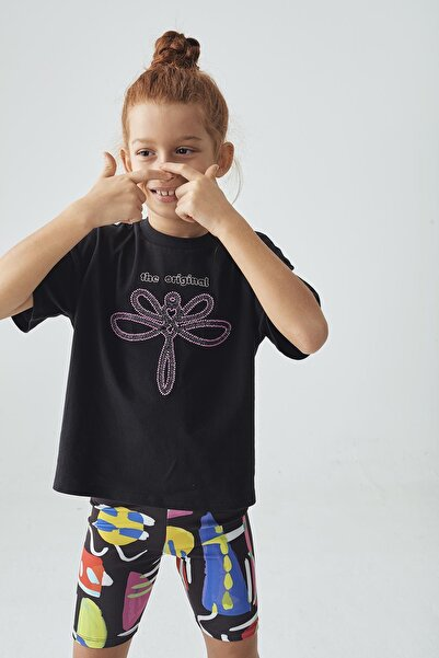 Tyess Kız Çocuk Siyah T-shirt