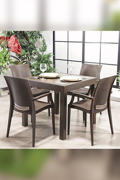 SANDALİE Rattan Kahve Kollu 4 Sandalye Masa Takımı - Bahçe&balkon&teras