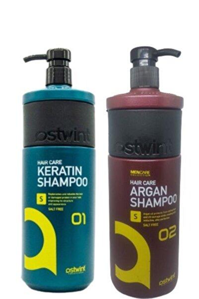 Ostwint Tuzsuz Sülfatsız Keratinli Saç Bakımı Şampuanı1000ml& Arganyağlı Tuzsuzşampuan 1000ml