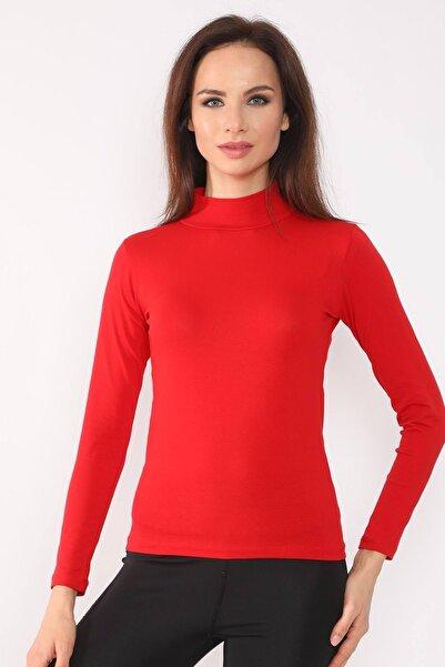 Ece Kadın Kırmızı Boğazlı Uzun Kollu  Badi
