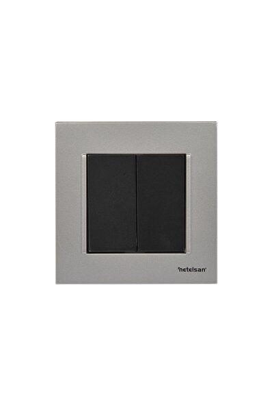 Netelsan Ikili Elektrik Açma Kapama Düğmesi Gümüş / Siyah