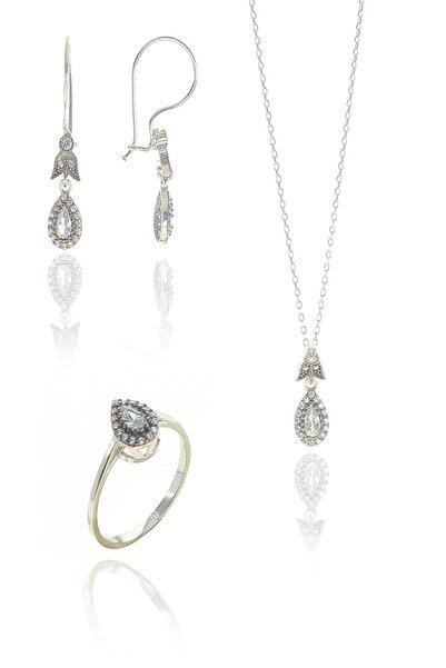 Söğütlü Silver Kadın Gümüş Rodajlı Zirkon Taşlı Elmas Montürlü Damla Set Beyaz-11 SGTL9006