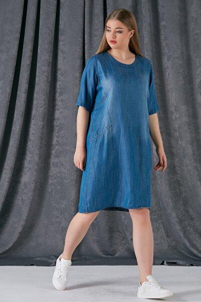 RMG Kadın Mavi Kupları Taş Detaylı Tensel Elbise 6545.