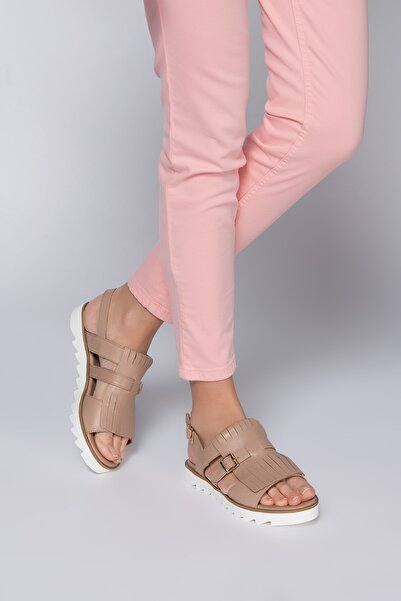 İnci Hakiki Deri Vizon Kadın Sandalet 120118573420