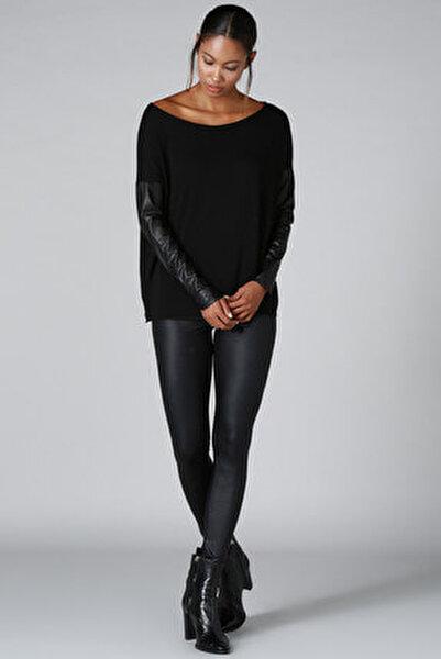 Kadın Siyah Deri Kol Detay Triko Kazak BD2288