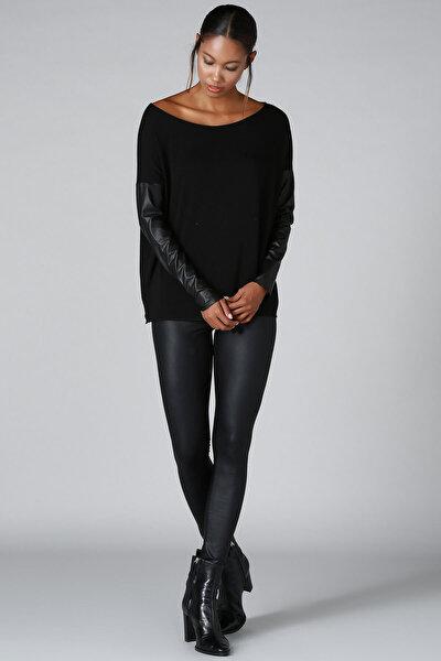 Quincey Kadın Siyah Deri Kol Detay Triko Kazak BD2288