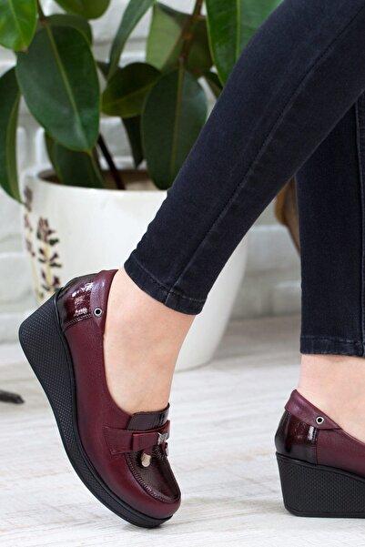 IVEKO Hakiki Deri Bordo Kadın Dolgu Topuklu Ayakkabı 3046