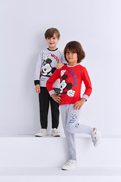 Mickey Mouse Lisanslı Erkek Çocuk Eşofman Takımı Açık Kırmızı 6-8