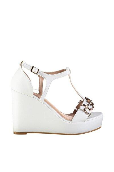 Derimod Beyaz Kadın Dolgu Topuklu Ayakkabı