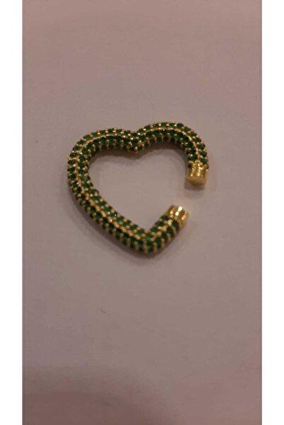 Stylish Kadın Yeşil Küpe Kalp Kıkırdak