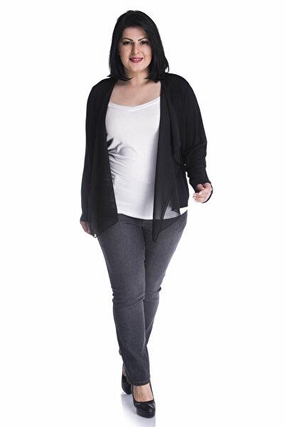 MYLİNE Kadın Siyah-Beyaz Önü Şifon Volanlı Penye Ceket 12911-m