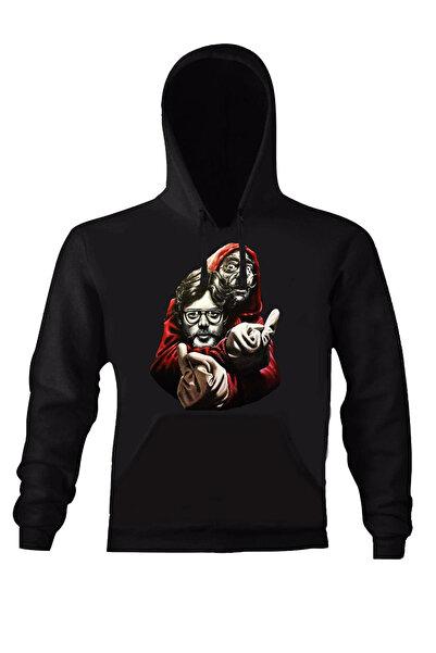 Art T-Shirt Kadın Siyah La Casa De Papel Prof. Fınger Unısex Kapüşonlu Sweatshirt ART018610W