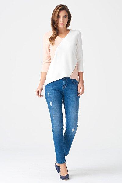 Naramaxx Kadın Pudra-Beyaz Bluz 17K11118Y873